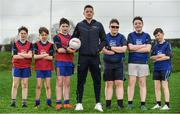"18 April 2018; GAA star Conor McManus was at the Monaghan County Training Grounds in Cloghan today to launch the GAA Super Games Centre in partnership with Sky Sports. The Super Games Centres which are based all over the country, were set up to reduce youth drop out and encourage ""play to stay"" amongst youth, specifically between the ages of 12 and 17 where youth drop out is most prevalent. Sky Sports is supporting the GAA Super Games Centres by arranging visits with Sky Sports mentors and providing kits and equipment to the estimated 9,000 members countrywide. Pictured is Conor McManus, with, from left, Cillian McConnon, 13, Conal McGinnity, 13, and Kyle Quinn, 13, from Patrician High School, Carrick Macross, Co Monaghan, and Nathan McCaughy, 13, Connor McKenna, 13, and Tyler Comiskey, 12, from Our Lady's Secondary School, Castleblaney, Co Monaghan.  Photo by Sam Barnes/Sportsfile"