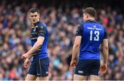 1 April 2018; Jonathan Sexton of Leinster with team-mate Garry Ringrose during the European Rugby Champions Cup quarter-final match between Leinster and Saracens at the Aviva Stadium in Dublin. Photo by Brendan Moran/Sportsfile