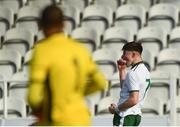 18 April 2018; Sean Kennedy of Republic of Ireland celebrates scoring his side's first goal as Bulgaria goalkeeper Nikola Videnov looks on during the Under-16 International Friendly match between Republic of Ireland and Bulgaria at the Regional Sports Centre in Waterford. Photo by Piaras Ó Mídheach/Sportsfile