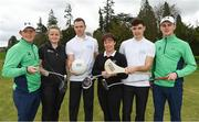 19 April 2018; In attendance at the GUI National Headquarters to help mark the commencement of the 2018 AIG Cups & Shields season and to celebrate AIG's 20th anniversary as a partner to the GUI and ILGU are, from left, 2017 AIG Senior Cup Champion Ronan Mullarney, Molly Dowling, AIG Senior Foursomes, Dublin football star and AIG ambassador Dean Rock, Lady Captain of Lucan Golf Club Sandra McCaffrey, Dublin hurling star and AIG ambassador Eoghan O'Donnell, and 2017 AIG Irish Close winner Jamie Fletcher. AIG revealed details of their 'AIG Golfer Anniversary Sale', where they are offering up to 20% off car insurance and up to 50% on home Insurance.* For more details see www.aig.ie/golf . Photo by Brendan Moran/Sportsfile
