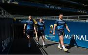 20 April 2018; Robbie Henshaw, left, Jack McGrath, centre, and Andrew Porter during the Leinster Rugby captain's run at the Aviva Stadium in Dublin. Photo by Ramsey Cardy/Sportsfile