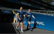 20 April 2018; Rob Kearney, left, and Tadhg Furlong during the Leinster Rugby captain's run at the Aviva Stadium in Dublin. Photo by Ramsey Cardy/Sportsfile