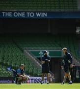 20 April 2018;Senior coach Stuart Lancaster, left, backs coach Girvan Dempsey, centre, and head coach Leo Cullen during the Leinster Rugby captain's run at the Aviva Stadium in Dublin. Photo by Ramsey Cardy/Sportsfile