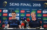 20 April 2018; Jonathan Sexton, left, and head coach Leo Cullen during a Leinster Rugby press conference at the Aviva Stadium in Dublin. Photo by Ramsey Cardy/Sportsfile