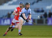 24 March 2018; Peter Casey of Na Piarsaigh in action against Seán Moran of Cuala during the AIB GAA Hurling All-Ireland Senior Club Championship Final replay match between Cuala and Na Piarsaigh at O'Moore Park in Portlaoise, Laois. Photo by Piaras Ó Mídheach/Sportsfile