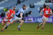 24 March 2018; Peter Casey of Na Piarsaigh in action against Seán Moran, left, and Seán Treacy of Cuala during the AIB GAA Hurling All-Ireland Senior Club Championship Final replay match between Cuala and Na Piarsaigh at O'Moore Park in Portlaoise, Laois. Photo by Piaras Ó Mídheach/Sportsfile