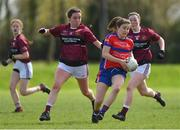 20 April 2018; Cora Joy of ISK, Killorgin, Kerry in action against Elaine Brady of Loreto, Cavan during the Lidl All Ireland Post Primary School Junior A Final match between ISK, Killorgin, Kerry and Loreto, Cavan at St. Rynagh's in Banagher, Co. Offaly. Photo by Matt Browne/Sportsfile