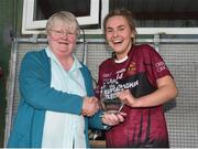 20 April 2018; Geraldine Carey from Ladies football  presents the player of the match trophy to Aine Reilly of Loreto, Cavan after the Lidl All Ireland Post Primary School Junior A Final match between ISK, Killorgin, Kerry and Loreto, Cavan at St. Rynagh's in Banagher, Co. Offaly. Photo by Matt Browne/Sportsfile