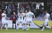 20 March 2018; Colm Horgan of Cork City celebrates with teammates after scoring his side's first goal during the SSE Airtricity League Premier Division match between Bohemians and Cork City at Dalymount Park in Dublin. Photo by Sam Barnes/Sportsfile
