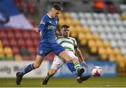 20 March 2018; Cian Coleman of Limerick in action against Aaron Bolger of Shamrock Rovers during the SSE Airtricity League Premier Division match between Shamrock Rovers and Limerick at Tallaght Stadium in Dublin. Photo by Harry Murphy/Sportsfile