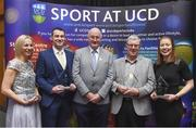 20 March 2018; Uachtarán Chumann Lúthchleas Gael John Horan with award winners, from left, Marcella Price of Meath, Ladies Football, Stephen Lucey of Limerick, Hurling, Eugene McGee of Offaly, Men's Football, and Rena Buckley of Cork, Camogie, at the UCD GAA Hall of Fame Alumni Dinner 2018 at the UCD Astra Hall in Dublin. Photo by Piaras Ó Mídheach/Sportsfile