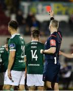 20 March 2018; Referee Ben Connolly shows Gavin Peers of Derry City a rd card late in the game during the SSE Airtricity League Premier Division match between Dundalk and Derry City at Oriel Park in Dundalk, Louth. Photo by Oliver McVeigh/Sportsfile