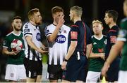 20 March 2018; Seán Hoare, left and Daniel Cleary of Dundalk have words with Referee Ben Connolly after the final whistle in the SSE Airtricity League Premier Division match between Dundalk and Derry City at Oriel Park in Dundalk, Louth. Photo by Oliver McVeigh/Sportsfile