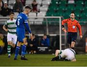 20 March 2018; Referee Neil Doyle reaches for a red card for Cian Coleman of Limerick after his tackle of Aaron Bolger of Shamrock Rovers during the SSE Airtricity League Premier Division match between Shamrock Rovers and Limerick at Tallaght Stadium in Dublin. Photo by Harry Murphy/Sportsfile