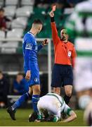 20 March 2018; Referee Neil Doyle shows Cian Coleman of Limerick a red card during the SSE Airtricity League Premier Division match between Shamrock Rovers and Limerick at Tallaght Stadium in Dublin. Photo by Harry Murphy/Sportsfile