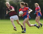 20 April 2018; Roisin Griffin of ISK, Killorgin, Kerry in action against Darcey Beck of Loreto, Cavan during the Lidl All Ireland Post Primary School Junior A Final match between ISK, Killorgin, Kerry and Loreto, Cavan at St. Rynagh's in Banagher, Co. Offaly. Photo by Matt Browne/Sportsfile