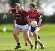 20 April 2018; Roisin Griffin of ISK, Killorgin, Kerry in action against Hannah Smith of Loreto, Cavan during the Lidl All Ireland Post Primary School Junior A Final match between ISK, Killorgin, Kerry and Loreto, Cavan at St. Rynagh's in Banagher, Co. Offaly. Photo by Matt Browne/Sportsfile