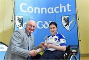 21 April 2018; Sarah Cregg of Connacht is presented with her 2017 Wheelchair hurling All-Star Camogie Player of the Year Award by Uachtarán Chumann Lúthchleas Gael John Horan at the 2017 Wheelchair hurling All-Star Awards at Holy Rosary College in Mountbellew, Galway. Photo by Piaras Ó Mídheach/Sportsfile