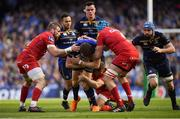21 April 2018; Garry Ringrose of Leinster is tackled by John Barclay, left, and Tadhg Beirne of Scarlets during the European Rugby Champions Cup Semi-Final match between Leinster Rugby and Scarlets at the Aviva Stadium in Dublin. Photo by Brendan Moran/Sportsfile