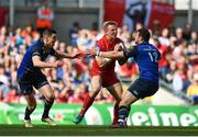 21 April 2018; Hadleigh Parkes of Scarlets is tackled by Robbie Henshaw, right, and Jonathan Sexton of Leinster during the European Rugby Champions Cup Semi-Final match between Leinster Rugby and Scarlets at the Aviva Stadium in Dublin. Photo by Sam Barnes/Sportsfile