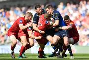 21 April 2018; Hadleigh Parkes of Scarlets is tackled by Robbie Henshaw, left, and Jonathan Sexton of Leinster during the European Rugby Champions Cup Semi-Final match between Leinster Rugby and Scarlets at the Aviva Stadium in Dublin. Photo by Sam Barnes/Sportsfile