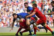21 April 2018; Robbie Henshaw of Leinster is tackled by David Bulbring of Scarlets during the European Rugby Champions Cup Semi-Final match between Leinster Rugby and Scarlets at the Aviva Stadium in Dublin. Photo by Brendan Moran/Sportsfile