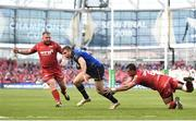 21 April 2018; Jordan Larmour of Leinster is tackled by Aaron Shingler of Scarlets during the European Rugby Champions Cup Semi-Final match between Leinster Rugby and Scarlets at the Aviva Stadium in Dublin. Photo by Sam Barnes/Sportsfile