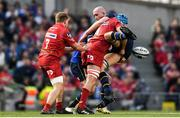 21 April 2018; Devin Toner of Leinster is tackled by Tadhg Beirne of Scarlets during the European Rugby Champions Cup Semi-Final match between Leinster Rugby and Scarlets at the Aviva Stadium in Dublin. Photo by Ramsey Cardy/Sportsfile