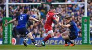21 April 2018; Scott Williams of Scarlets is tackled by Robbie Henshaw, left, and Garry Ringrose of Leinster  during the European Rugby Champions Cup Semi-Final match between Leinster Rugby and Scarlets at the Aviva Stadium in Dublin. Photo by Brendan Moran/Sportsfile