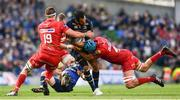 21 April 2018; Isa Nacewa of Leinster is tackled by Lewis Rawlins, left, and Tadhg Beirne of Scarlets during the European Rugby Champions Cup Semi-Final match between Leinster Rugby and Scarlets at the Aviva Stadium in Dublin. Photo by Ramsey Cardy/Sportsfile