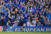 21 April 2018; Jonathan Sexton of Leinster, left, celebrates after scoring his side's fifth during the European Rugby Champions Cup Semi-Final match between Leinster Rugby and Scarlets at the Aviva Stadium in Dublin. Photo by Brendan Moran/Sportsfile