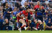 21 April 2018; Gareth Davies of Scarlets is tackled by Jordan Larmour of Leinster during the European Rugby Champions Cup Semi-Final match between Leinster Rugby and Scarlets at the Aviva Stadium in Dublin. Photo by Ramsey Cardy/Sportsfile