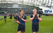 21 April 2018; Joey Carbery, left, and Dan Leavy of Leinster celebrates following their victory in the European Rugby Champions Cup Semi-Final match between Leinster Rugby and Scarlets at the Aviva Stadium in Dublin. Photo by Ramsey Cardy/Sportsfile