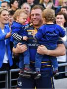 21 April 2018; Sean Cronin of Leinster celebrates with his wife Claire and sons Finn and Cillian after the European Rugby Champions Cup Semi-Final match between Leinster Rugby and Scarlets at the Aviva Stadium in Dublin. Photo by Brendan Moran/Sportsfile