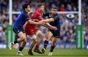 21 April 2018; James Davies of Scarlets is tackled by Joey Carbery and Jordan Larmour of Leinster during the European Rugby Champions Cup Semi-Final match between Leinster Rugby and Scarlets at the Aviva Stadium in Dublin. Photo by Brendan Moran/Sportsfile