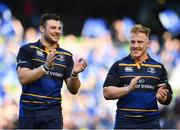 21 April 2018; Robbie Henshaw, left, and James Tracy of Leinster celebrate following the European Rugby Champions Cup Semi-Final match between Leinster Rugby and Scarlets at the Aviva Stadium in Dublin. Photo by Sam Barnes/Sportsfile