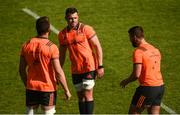 21 April 2018; CJ Stander with Jean Kleyn and Rhys Marshall during the Munster Rugby Captain's Run at the Stade Chaban-Delmas in Bordeaux, France. Photo by Diarmuid Greene/Sportsfile