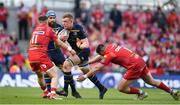 21 April 2018; Dan Leavy of Leinster is tackled by Steff Evans, left, and Rob Evans of Scarlets during the European Rugby Champions Cup Semi-Final match between Leinster Rugby and Scarlets at the Aviva Stadium in Dublin. Photo by Sam Barnes/Sportsfile