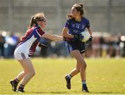 21 April 2018; Treasa O'Sullivan of St Brigids, S.S, Killarney in action against Niamh McGrath of Coláiste Bhaile Chláir, Claregalway during the Lidl All Ireland Post Primary School Junior B Final match between St Brigids, S.S, Killarney and Coláiste Bhaile Chláir, Claregalway, Galway at Mick Neville Park in Rathkeale, Limerick. Photo by Matt Browne/Sportsfile