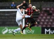 21 April 2018; Josh Collins of UCD in action against Chris Mulhall of Longford Town during the SSE Airtricity League First Division match between Longford Town and UCD at the City Calling Stadium in Lissanurlan, Longford. Photo by Harry Murphy/Sportsfile