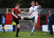 21 April 2018; Adam O'Connor of Longford Town in action against Liam Scales of UCD during the SSE Airtricity League First Division match between Longford Town and UCD at the City Calling Stadium in Lissanurlan, Longford. Photo by Harry Murphy/Sportsfile