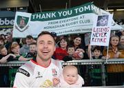 21 April 2018; Tommy Bowe of Ulster with his daughter Emma during a farewell walk around the Kingspan Stadium after the Guinness PRO14 Round 17 refixture match between Ulster and Glasgow Warriors at the Kingspan Stadium in Belfast. Photo by Oliver McVeigh/Sportsfile
