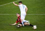 21 April 2018; Daire O'Connor of UCD is tackled by Daniel O'Reilly of Longford Town during the SSE Airtricity League First Division match between Longford Town and UCD at the City Calling Stadium in Lissanurlan, Longford. Photo by Harry Murphy/Sportsfile