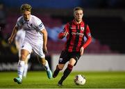 21 April 2018; Dean Byrne of Longford Town in action against Greg Sloggett of UCD during the SSE Airtricity League First Division match between Longford Town and UCD at the City Calling Stadium in Lissanurlan, Longford. Photo by Harry Murphy/Sportsfile
