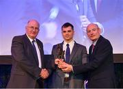 21 April 2018; AIB GAA Club Footballer of the year Liam Silke of Corofin is presented with his award by Uachtarán Chumann Lúthchleas Gael John Horan, left, and Denis O'Callaghan, Head of AIB Retail Banking at the AIB GAA Club Player Awards at Croke Park in Dublin. Photo by Eóin Noonan/Sportsfile