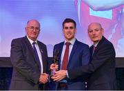 21 April 2018; AIB GAA Club Hurler of the year Sean Moran of Cuala is presented with his award by Uachtarán Chumann Lúthchleas Gael John Horan, left, and Denis O'Callaghan, Head of AIB Retail Banking at the AIB GAA Club Player Awards at Croke Park in Dublin. Photo by Eóin Noonan/Sportsfile