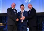 21 April 2018; Ian Burke of Corofin is presented with his award by Uachtarán Chumann Lúthchleas Gael John Horan and Denis O'Callaghan, Head of AIB Retail Banking at the AIB GAA Club Player Awards at Croke Park in Dublin. Photo by Eóin Noonan/Sportsfile