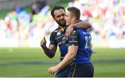 21 April 2018; Isa Nacewa, left, and Jordan Larmour of Leinster following the European Rugby Champions Cup Semi-Final match between Leinster Rugby and Scarlets at the Aviva Stadium in Dublin. Photo by Ramsey Cardy/Sportsfile