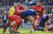 21 April 2018; Robbie Henshaw of Leinster is tackled by David Bulbring and Dan Jones of Scarlets during the European Rugby Champions Cup Semi-Final match between Leinster Rugby and Scarlets at the Aviva Stadium in Dublin. Photo by Ramsey Cardy/Sportsfile