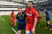 21 April 2018; James Tracy of Leinster and Tadhg Beirne of Scarlets following the European Rugby Champions Cup Semi-Final match between Leinster Rugby and Scarlets at the Aviva Stadium in Dublin. Photo by Ramsey Cardy/Sportsfile